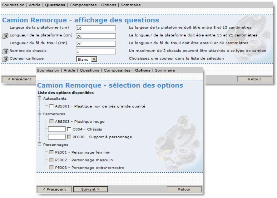 Questions Configurateur